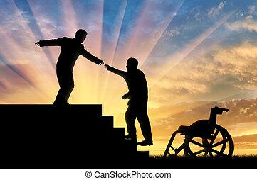 man, gir, hjälp lämna, till, handikappad, person, in, rullstol