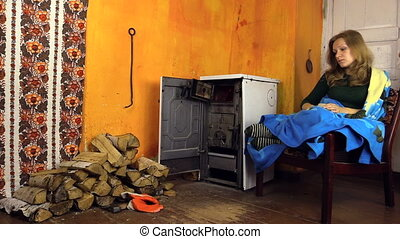 man girl wood rural stove - man bring girlfriend tuck in...