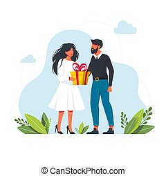Man give a present to a woman. Flat vector illustration. Man Gives A Gift To Woman. cartoon boy giving girl a gift box. Vector. Present. Valentines Day or Birthday. Vector illustration