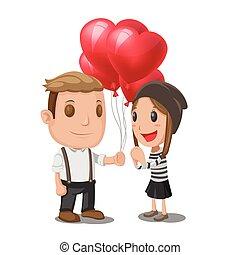 Man Give Heart Balloon Woman Vector