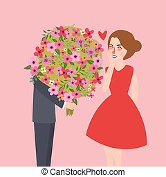 man give large flower bouquet to his girl friend couple...