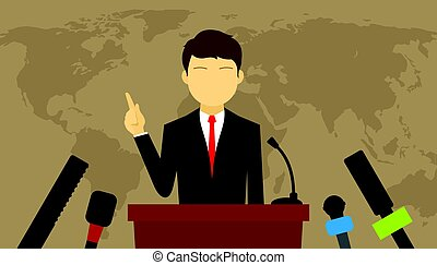 man give press conference politics speech vector...