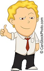 Man give thumbs up cartoon