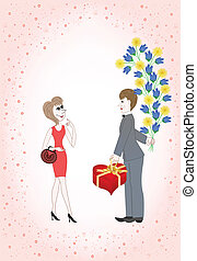 man gives a woman a huge bouquet  and a box