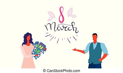 man gives bouquet of flowers to woman happy women day 8 march holiday celebration concept male female characters portrait white background horizontal greeting card sketch