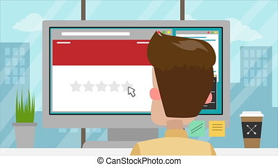 Man gives five star rating using computer in office. Cartoon...
