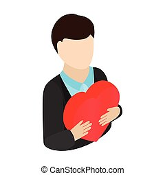 Man gives heart isometric 3d icon