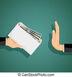 Man giving a bribe in an envelope. Stock vector.