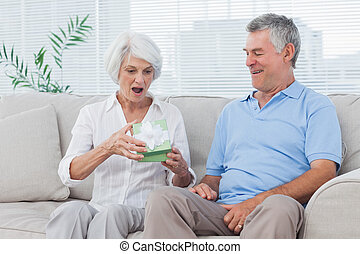 Man giving a gift to wife