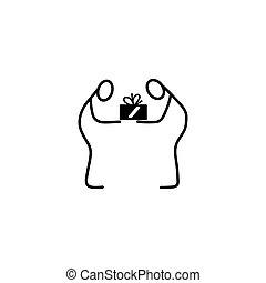 Man giving a present stick figures icon vector