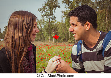 Man giving a woman single red anemone flower in anemones field