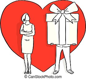 man giving big gift his lover in the background of red heart shape vector illustration sketch doodle hand drawn with black lines isolated on white background