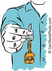 man giving house keys vector illustration