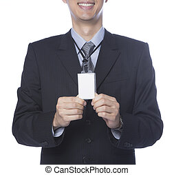 man giving name card