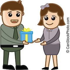 Man Giving Present and Gift Box - Drawing Art of Young ...