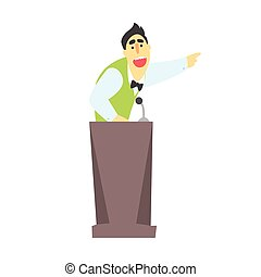 Man giving presentation at a podium in a green waistcoat and bow tie and pointing while speaking