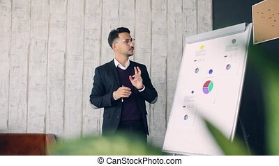 Man Giving Presentation to her Colleagues During a Meeting