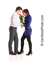 man giving rose flowers to a woman