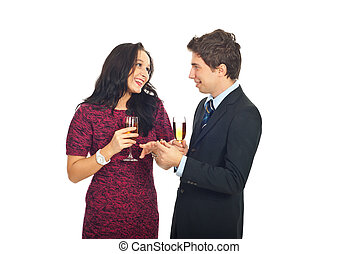 Man giving the wedding ring to hie girlfriend - Happy woman ...