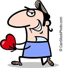 man giving valentine cartoon illustration - Cartoon St...