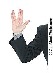 Business man giving Vulcan greeting from Star Trek