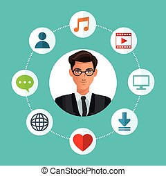 man glasses business with social media icons