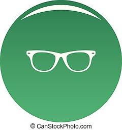 Man glasses icon vector green