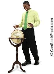 man, globe, zakelijk