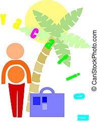 Man go to holidays - colorful illustration.