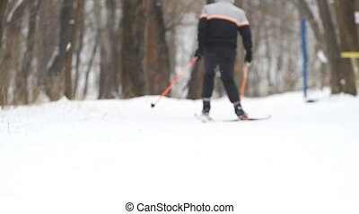 Man goes cross-country skiing in winter park