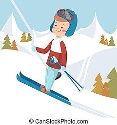 Man goes on skis. Vector illustration.