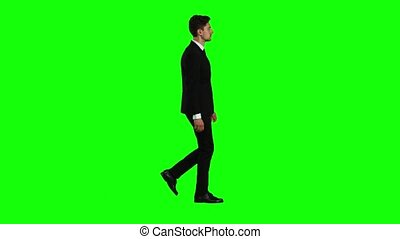Man goes to a business meeting, thinks about money and profits. Green screen