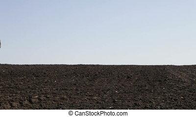 man goes to the plowed field - SMELA, CHERKASSKAYA/UKRAINE -...
