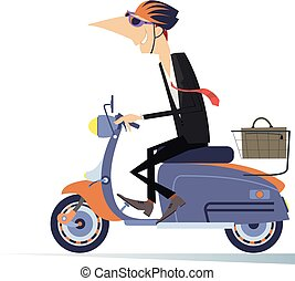 Man goes to work on the scooter isolated illustration