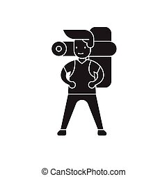 Man going camping black vector concept icon. Man going camping flat illustration, sign