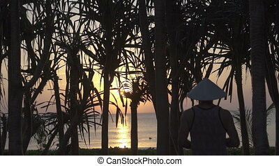 Man going on the beach during sunset - Back view of man...