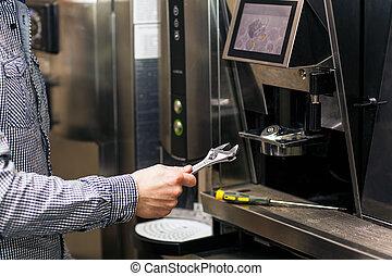 Man going to prerare coffee maker