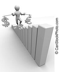 Man going to step schedule. Balance of dollar and euro