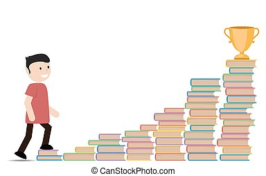 Man going up the stairs of books.