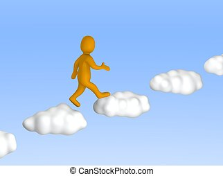 Man going up to the sky. 3d rendered illustration.