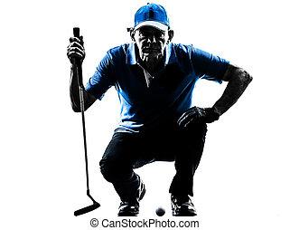man golfer golfing crouching silhouette - one man golfer...