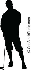 man golfer vector silhouettes