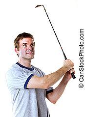 Man golfing isolated on white