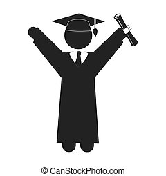 man graduation hat cap education icon vector graphic