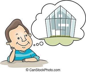 Man Green House Dream
