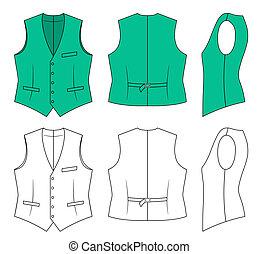 Man green waistcoat - Outline green waistcoat vector...