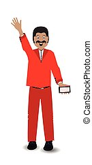 man greeting with a telephone hand up illustration