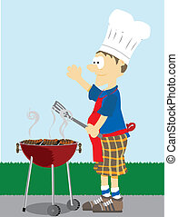 Man grills food outside. - Cartoon Male dressed in grilling...