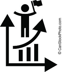 Man grow up chart icon, simple style