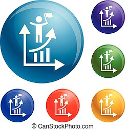 Man grow up chart icons set vector